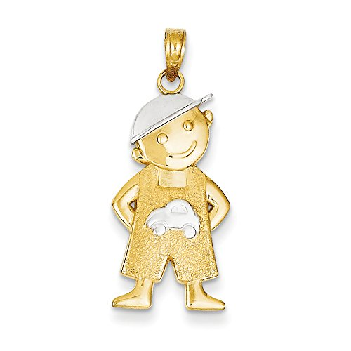 14k Yellow Gold White Rhodium Boy with Hands In Pockets Pendant, 12mm 14k Yellow Gold Pocket