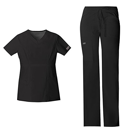 Cherokee Women's Workwear Core Stretch Junior Fit V-Neck Scrub Top 24703 & Junior Fit Low-Rise Drawstring Cargo Scrub Pants 24001 Medical Scrub Set (Black - X-Small/XXSmall Petite)