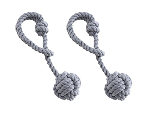 Home Queen Curtain Tiebacks Hand Knitting Cord Rope Holdbacks, Decorative Window Curtain Tie, Drapery Tie Back with Single Ball (1 Pair, Gray)