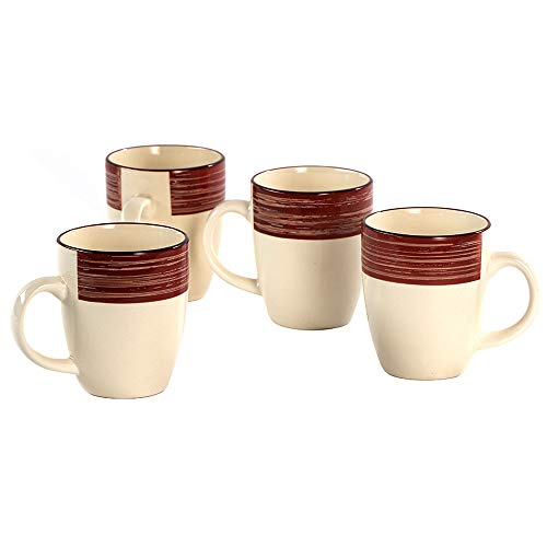 CeramicHome 12oz Porcelain Mug Set of 4,Coffee Mug, Stoneware Drinking Cups (Rustic style)