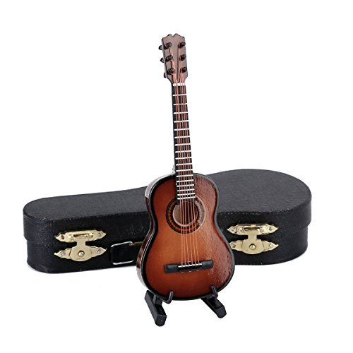 Seawoo Wooden Miniature Guitar with Stand and Case Mini Musical Instrument Replica Collectible Miniature Dollhouse Model Home decoration (Classic Guitar:Brown, 5.12