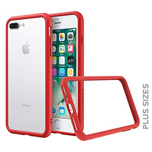 (RhinoShield Bumper for iPhone 8 Plus / 7 Plus [CrashGuard NX] | Shock Absorbent Slim Design Protective Cover [3.5M / 11ft Drop Protection] - Red)