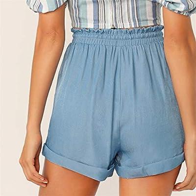 Xinantime Womens Casual Frill Trim Drawstring Waist Rolled Hem Shorts Hot Pants Loose Tie Waist Pant: Clothing