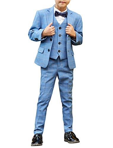 YUFAN Boys Formal Tuxedo Suits 5 Pieces Jacket+Pants+Vest+Shirt+Bow Tie 3 Colors Black Navy Plaid (8, Plaid (Five Piece Tuxedo Set)