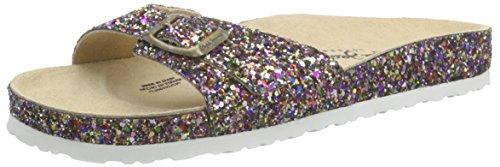 Pepe Jeans OBAN GLITER - Sandalias de Punta Descubierta, Mujer Multicolor (539Lagoon)