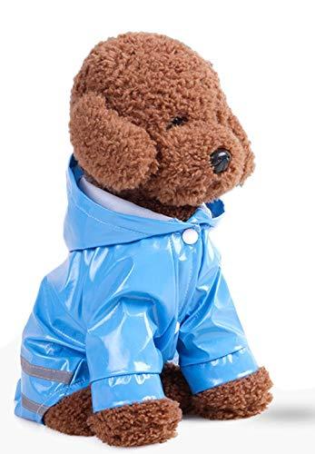 Bonaweite Pet Dog Raincoat with Hood Poncho, Waterproof Rain Coat, Lightweight Rain Jacket Hooded Rainwear with Safety Reflective Stripes ()