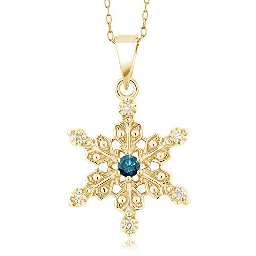 Gem Stone King 18K Yellow Gold Plated Silver Snowflake Pendant Blue and White Diamond (0.12 cttw, with 18 Inch -
