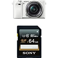 Sony Alpha a6000 Interchangeable Lens Camera with 16-50mm Power Zoom Lens (White) with Memory Card