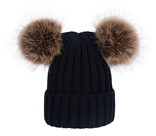 wanture Women's Winter Knit Beanie Hat, Girls Knitted Fur Hat with Double Faux Fur Pom Pom ()