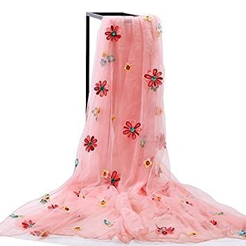 La primavera y el otoño Sequin Stitching Puntilla Toalla de Playa Sol de verano Bufanda Bufanda Bufanda Bufandas Mantones femeninos,carne En polvo coreano: ...