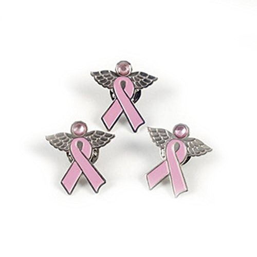 12 Angel Pins with Wings Pink Ribbon Breast Cancer Awareness Cure Charm INSPIRE -