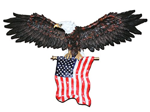 COMLZD 3D American Eagle Wall Sculptures, Patriotic Eagle Sculpture with National Flag Freedom's Pride Art Wall Decor (31 inch x 18 inch)