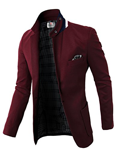 H2H Men's Textured Pinstripe Tailored-Fit Two-Button Suit Separate Coat WINE US S/Asia M (KMOBL01) by H2H