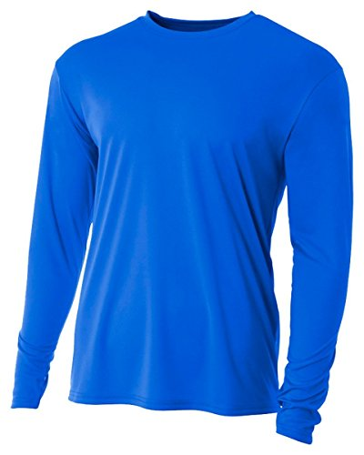 A4 Youth Cooling Performance Crew Long Sleeve T-Shirt, Royal, X-Large