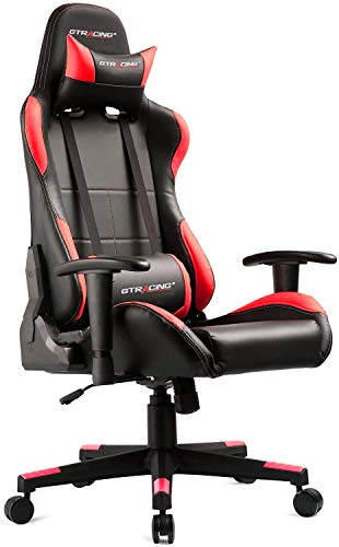 GTRACING Gaming Chair Ergonomic Racing Chair PU Leather High-Back Adjustable Height Professional E-Sports Chair with Headrest and Lumbar Pillows GTBEE Series Black/Red