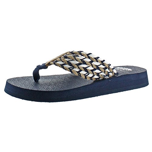 (Yellow Box Women's Knit Nautical Braided Thong EVA Sandal Shoes Navy Size 11)