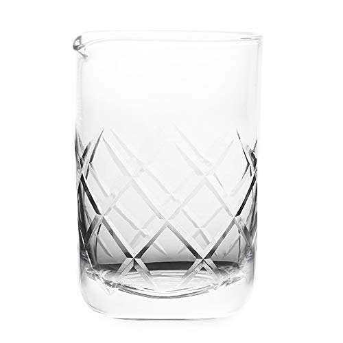 Cocktail Mixing Glass for Home Bar - Mixing Glass - Professional Bartender Tool for Cocktail Set Cocktail Party Supplies & Cocktail Kit Barware - Bar Accessories - Dishwasher Safe 18 oz Etched Glass