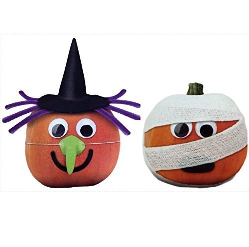 Witch and Mummy Pumpkin Decorating Kits Set of 2