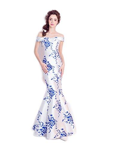 分析的な花束ロールロングドレス演奏会 イブニングドレス結婚式 パーティードレス 二次会 披露宴 成人式 ワンピース 染付風 マーメイド