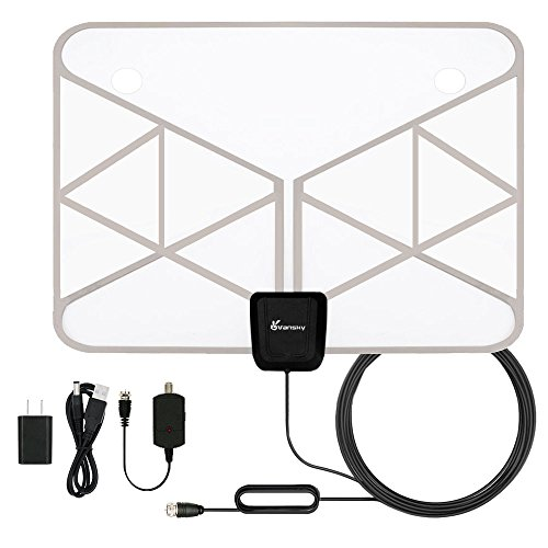 TV Antenna, Vansky Indoor Transparent Amplified HDTV Antenna 50 Mile Range with Detachable Amplifier Signal Booster, USB PowerSupply, 16.5FT High Performance Coax Cable - Thin, Light, Better Reception
