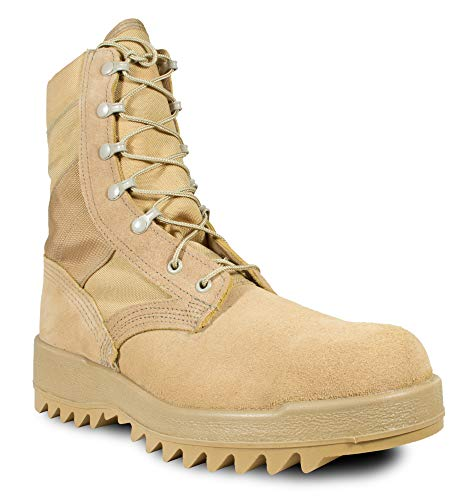 McRae Mens Desert Tan Suede/Cordura Hot Weather Ripple Military Boots 10.5 R
