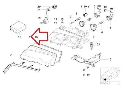 BMW Genuine Headlight Lens (Plastic) Left for 323Ci 325Ci 328Ci 330Ci M3