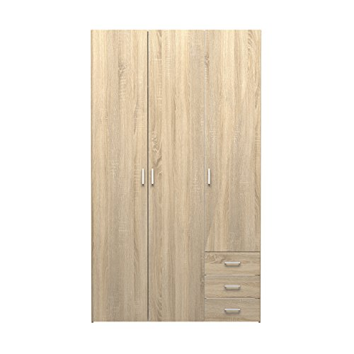 - Tvilum 70409akak Space 3 Drawer & & 3 Door Wardrobe, Oak Structure