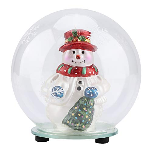 Glass Snowman Ball Crystal Glass Globe Ball Christmas Ornament 7 Color Changing LED Lamp Light Up Glass Christmas Ornament with Snowflake Vines for Christmas Decorations and Ideal Gifts(Snowflake)