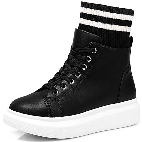 Blanco ZHZNVX Negro de Round Otoño Primavera Blanco Negro Black Zapatos Rojo Sneakers Toe Mujer Poliuretano White PU Comfort Creepers rryB7wKg4c