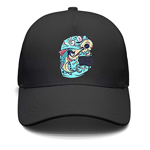 Unisex Shark Cartoon Skull hat Bones Tattoo Hand Dead SEA Trucker Hat Adjustable Sun Hats caps ()