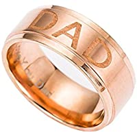 Voberry New Arrive Stainless Steel Dad Ring Engraved Love You Dad Mens Ring Jewelry (11, rose gold)