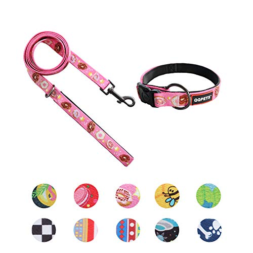 QQPETS Girl Dog Collar and Leash Set Lovely Donut Pattern Adjustable Puppy Collars Soft Padded Leashes for Small Dogs Training Walking (S, Pink Donut)
