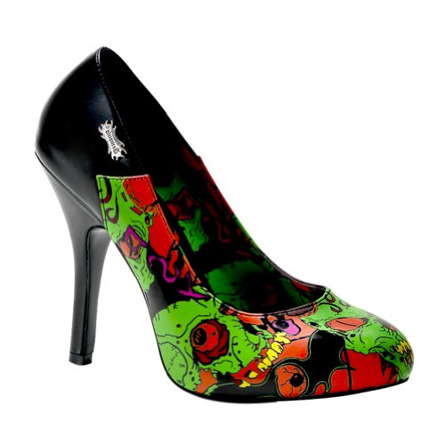 4 1/2 Inch Sexy High Heel Pump Shoes Screen Print Funky Zombie Moon Shoes Size: 6