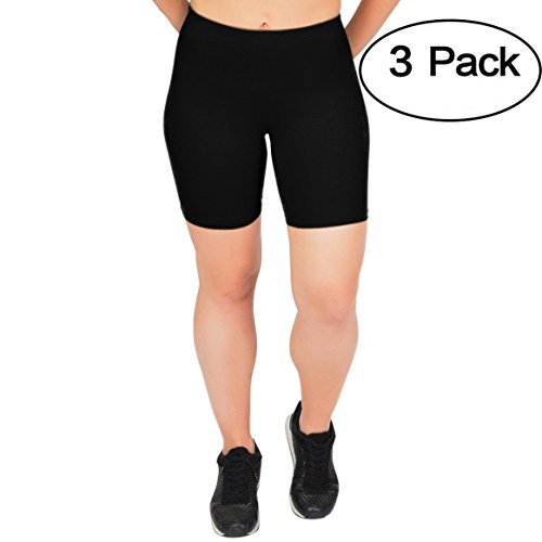 - Stretch is Comfort Women's Cotton Biker Shorts Set of 3 Pieces Black X-Large