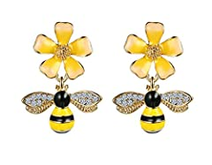 Fashion Yellow Enamel Crystal Bee And Flower Women's Ear Stud Earrings 100% brand new Quantity:1 pair  Gender: women Girl  Style: Fashion Material: brass crystal  Catch this gift accessories for you. Match with suitable apparel for different ...