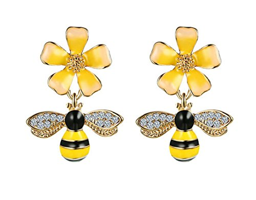 Flower Crystal Earrings Drop (Gold Plated Bee Stud Dangle Drop Earrings for Women Girls Yellow Flower Crystal Jewelry by SUNSCSC (Yellow Bee W749))