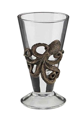 Octopus Shot Glass, Cold Cast Bronze and Glass
