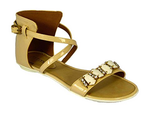 Womens Flat Gladiator Cut Out Sandals Ladies Ankle Lace up Summer Holiday Peep Toe Shoes Beige (L15b1068) VOuDaJl