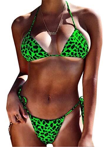 (Sweatwater Women's Sexy G String Halter 2 Piece Bathing Suit Leopard Bikini Sets Swimsuit Green X-Large)