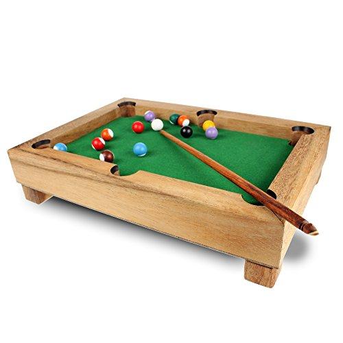 Mini Billardtisch aus Edelholz - Standard - Gadget für Zuhause - Geschicklichkeitsspiel als Geschenk-Idee - Tischbillard - Maße: ca. 29 x 20 x 6 cm