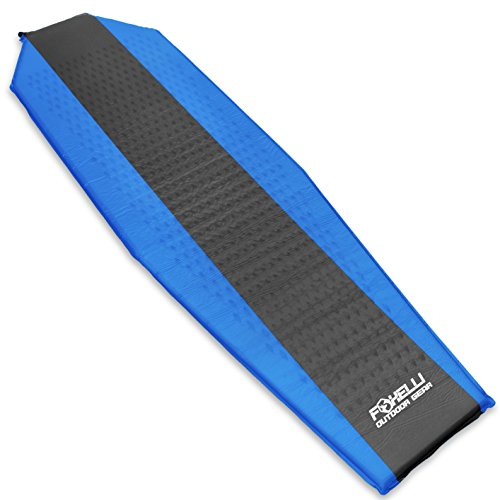Foxelli #1 Sleeping Pad - Comfortable & Compact Self Inflating Lightweight Moisture-proof Mat, Best for Camping, Hiking & Backpacking, Super Durable Foam Padding, Waterproof Air Mattress with Bag
