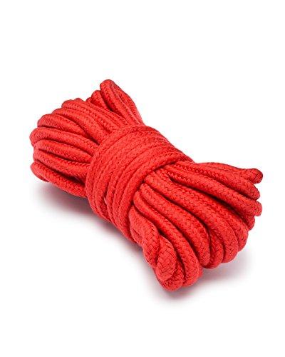 Hush Hush Soft Shibari Restraint Japanese Cotton Tie Down Bondage Fetish Rope 10 Meters (32 Feet) Red