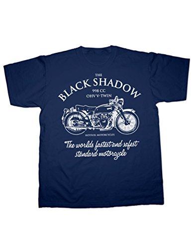 Hotfuel Black Shadow, Worlds Fastest Motorcycle T Shirt (4XL, Navy)