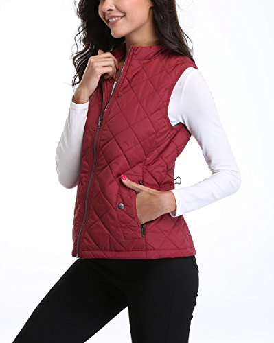 MISS MOLY Women's Zip up Stand Collar Lightweight Quilted Gilets Packable Padded Vest w 2 Side Zip Pockets S by MISS MOLY (Image #2)