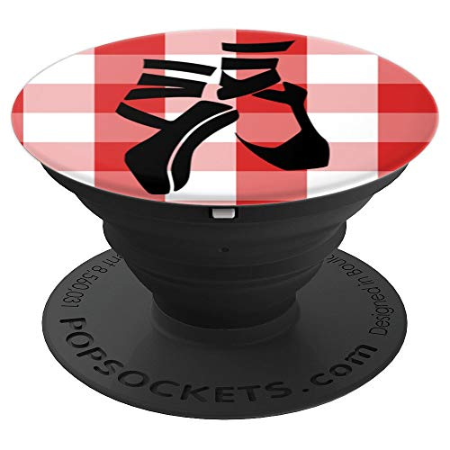 (Ballerina, Black Ballet Shoes, Ballet Flats White Red Plaid - PopSockets Grip and Stand for Phones and Tablets)