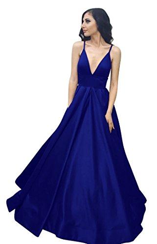 VinBridal Long Spaghetti Straps Satin Ball Gown Prom Dresses with Pockets Royal Blue ()