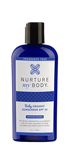 Nurture My Body All-Natural SPF 32 Mineral Baby Sunscreen, Fragrance Free, 4 fl oz. - Certified Organic Ingredients (Sunblock Body)