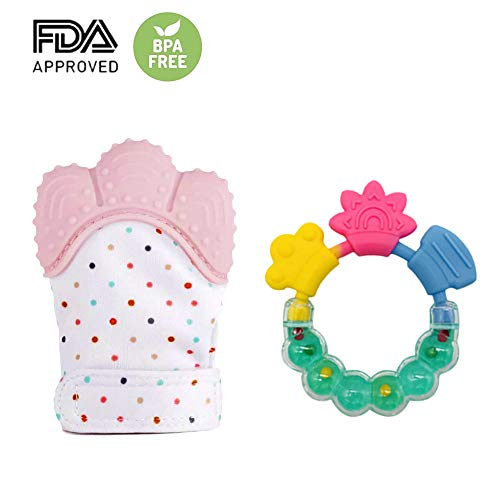 Baby Teething Mitten & Teething Ring(Teething Toys)Self Soothing Teether & Teething Pain Relief Toy, Prevent Scratches Protection Glove, 100% BPA Free Silicone (Pink)