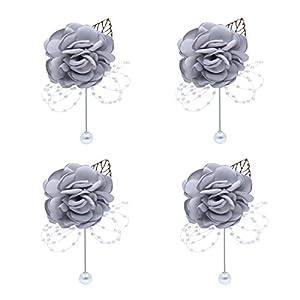 HBEDU Groom Boutonniere Flower Satin Rose Pearl Groomsmen Brooch for Wedding Flowers Party Decoration Pack of 4 39