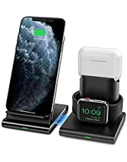 Seneo Wireless Charger, 3 in 1 Wireless Charging Station for Apple Watch, AirPods Pro/2, Detachable and Magnetic Charging Stands for iPhone 11 Pro Max/X/XS/XR/8P, Galaxy S10/S9, Note 10/9(NO Adapter)